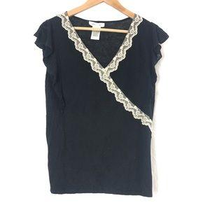 Black linen blend blouse with lace trim
